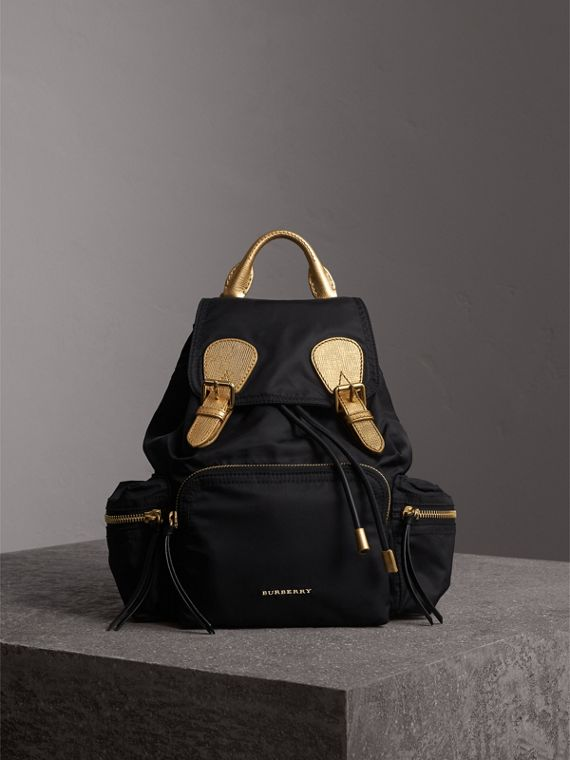 The Medium Rucksack in Two-tone Nylon and Leather in Black/gold - Women | Burberry Australia