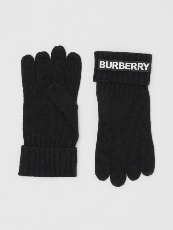 Kingdom and Logo Appliqué Cashmere Gloves in Black