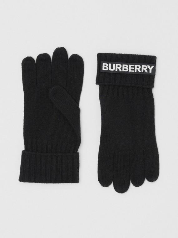 """Handschuhe aus Kaschmir mit """"Kingdom""""-Schriftzug und Logo-Applikation (Schwarz)"""