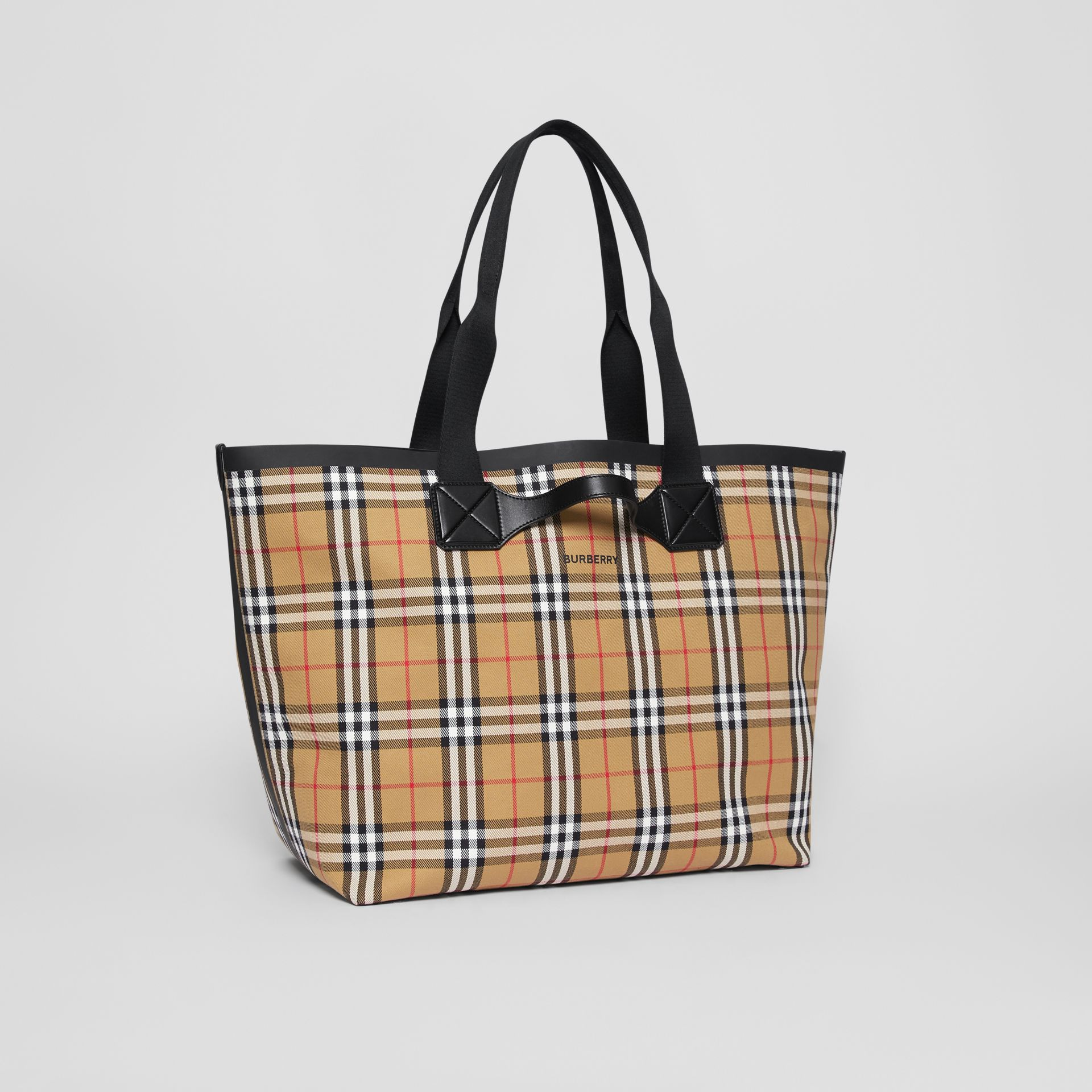 Large Vintage Check Austen Tote in Archive Beige - Women | Burberry Canada - gallery image 6