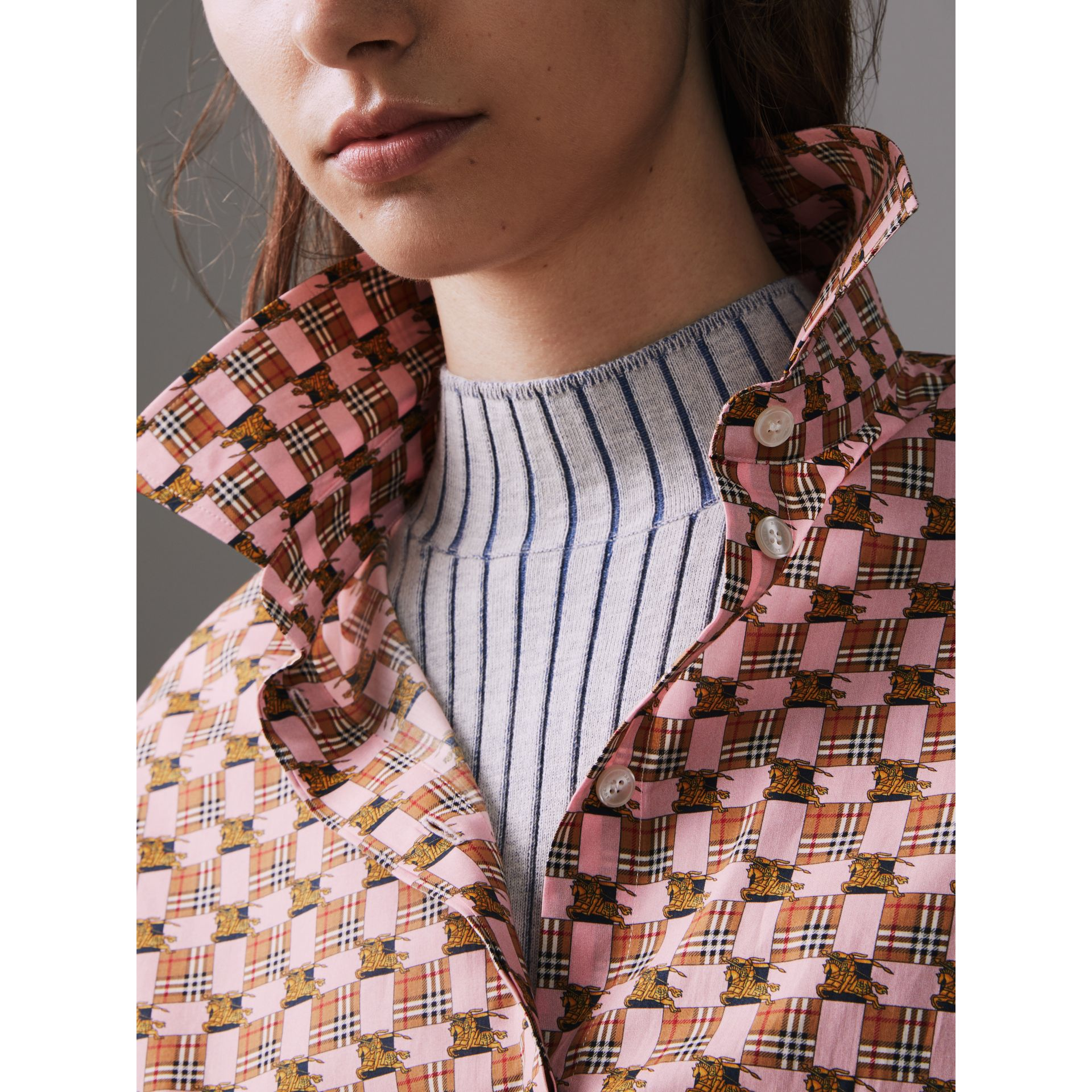 Tiled Archive Print Cotton Shirt in Pink - Women | Burberry United Kingdom - gallery image 1