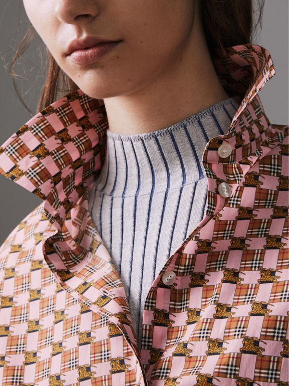 Tiled Archive Print Cotton Shirt in Pink - Women | Burberry - cell image 1