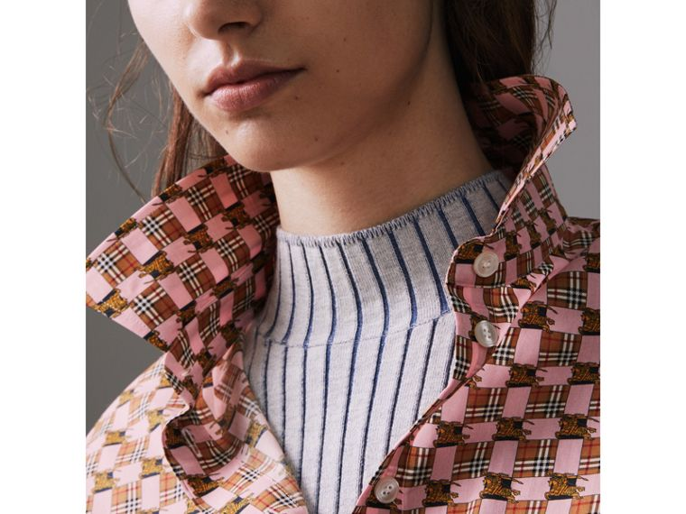 Tiled Archive Print Cotton Shirt in Pink - Women | Burberry United States - cell image 1
