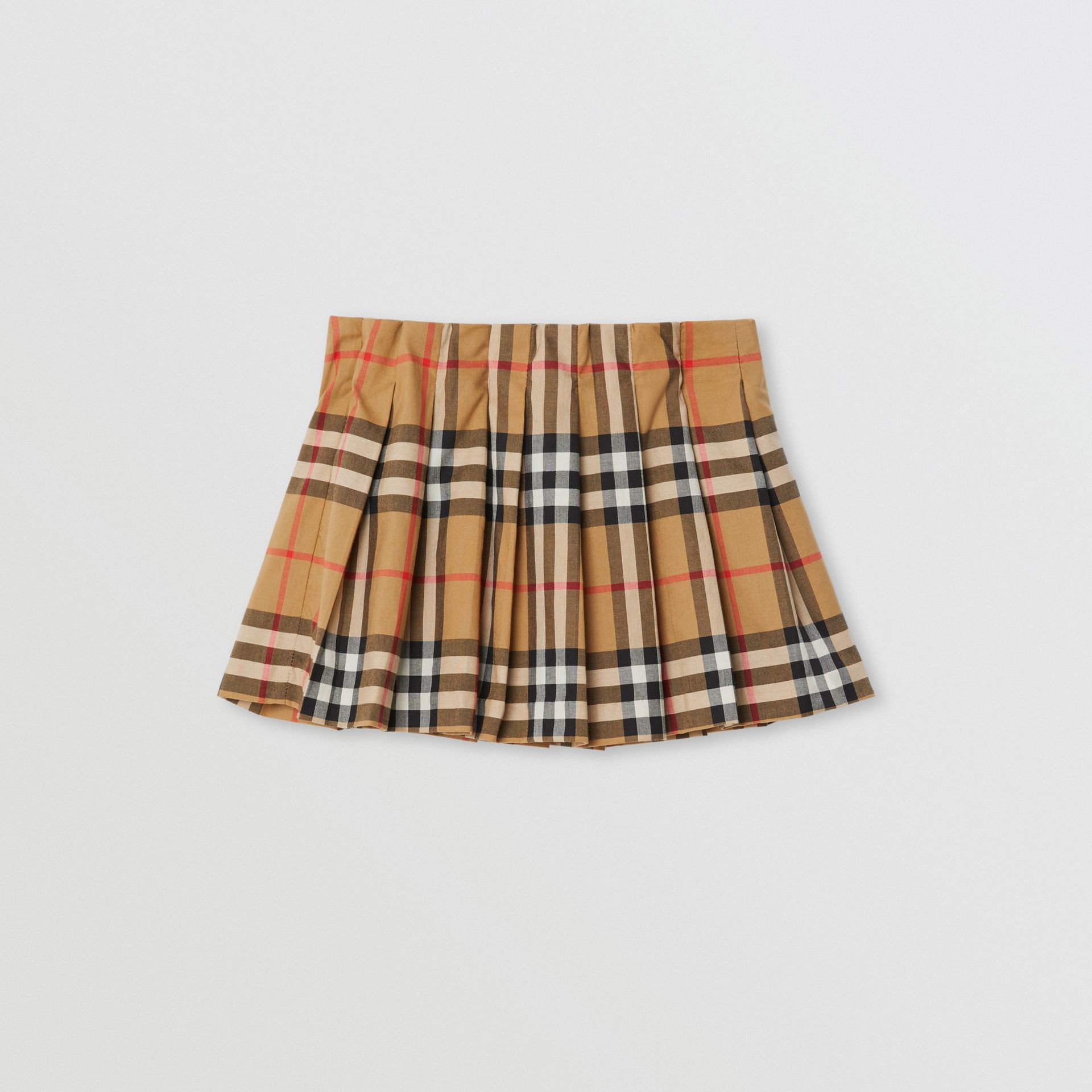 Jupe plissée à motif Vintage check (Jaune Antique) - Enfant | Burberry - photo de la galerie 0