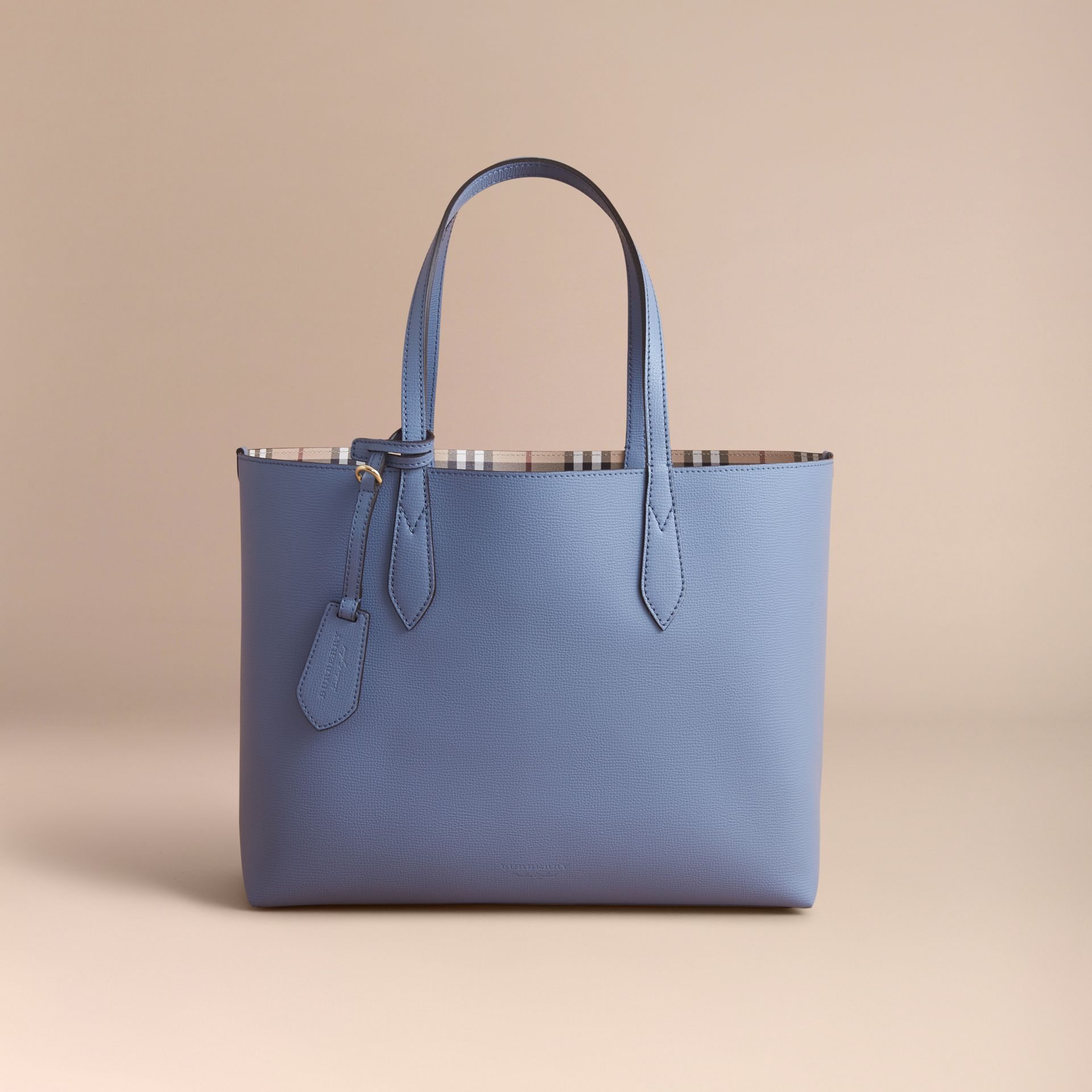 The Medium Reversible Tote in Haymarket Check and Leather Slate Blue - gallery image 8