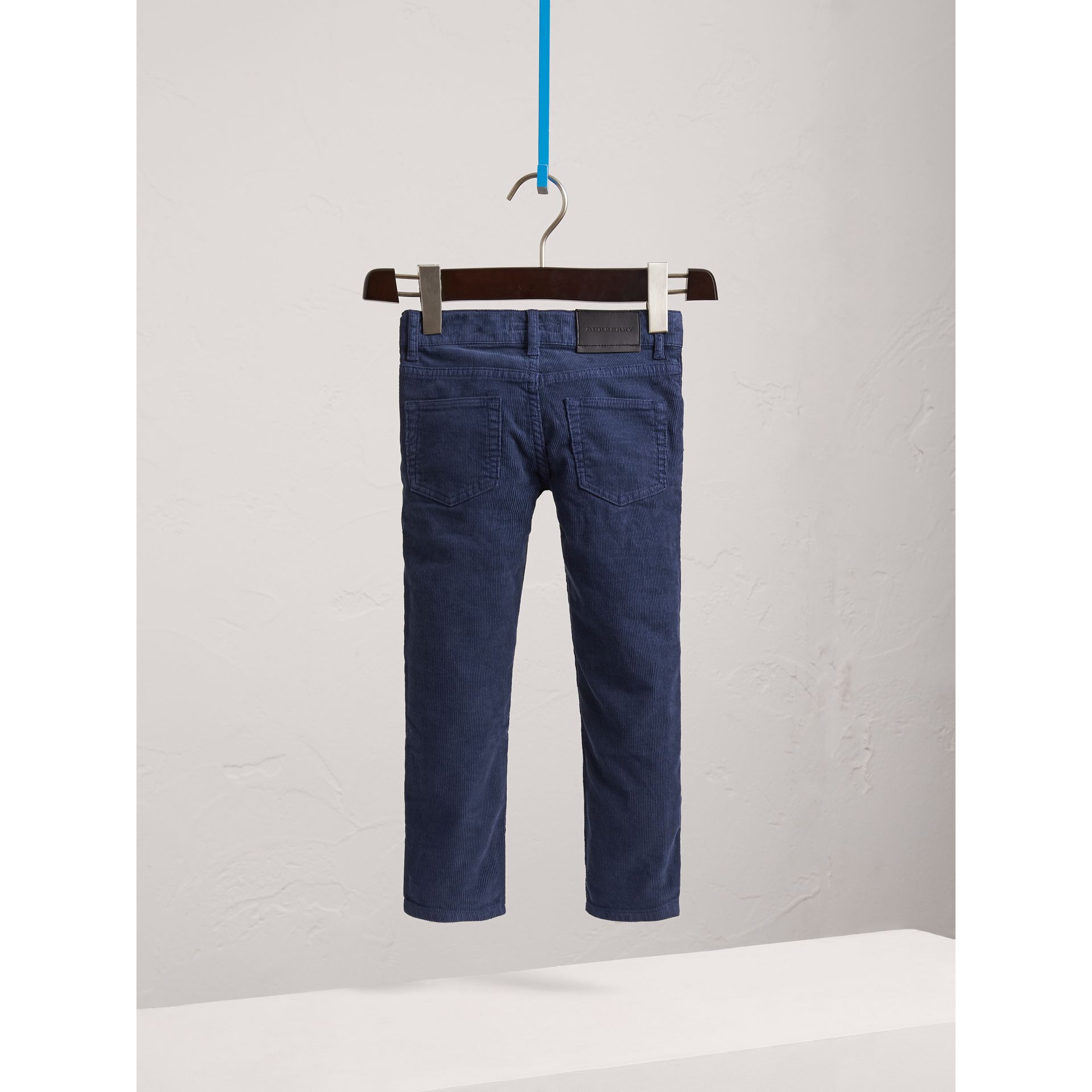Skinny Fit Stretch Cord Trousers in Cobalt Blue - Boy | Burberry - gallery image 4
