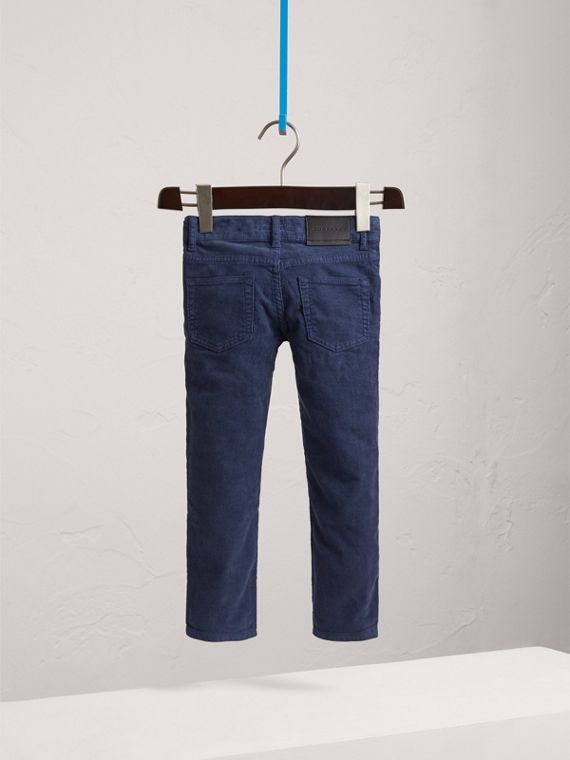 Skinny Fit Stretch Cord Trousers in Cobalt Blue - Boy | Burberry - cell image 3