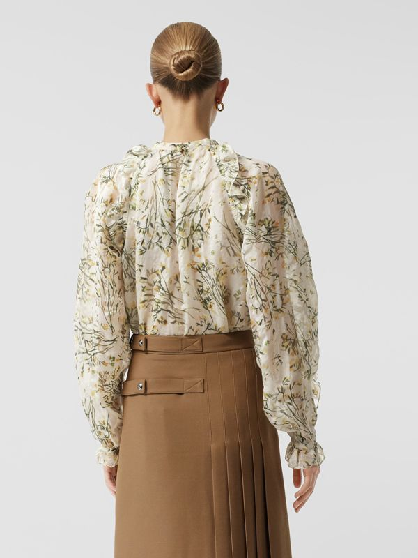 Ruffle Detail Floral Silk Blend Blouse in Lawn Green - Women | Burberry Australia - cell image 2