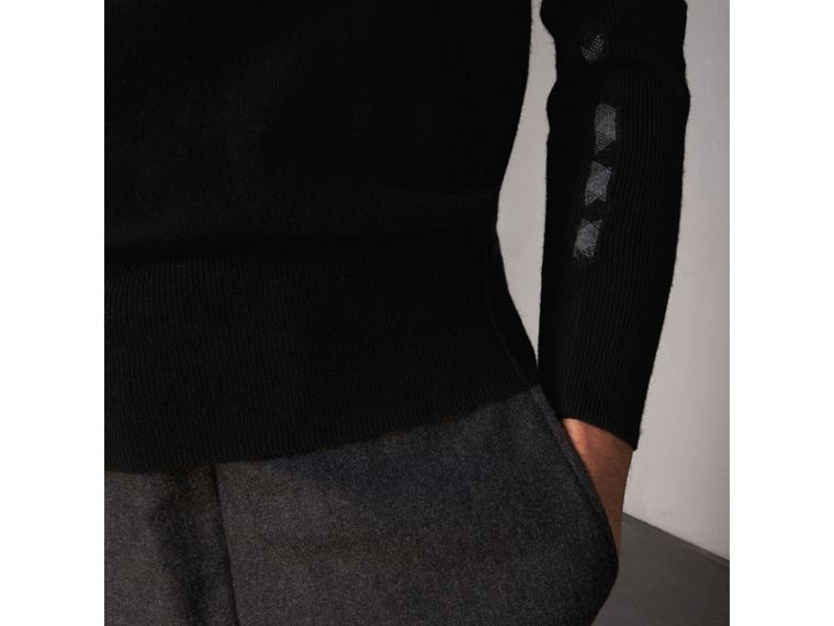 Check Detail Merino Wool Sweater in Black - Men | Burberry Singapore - cell image 1