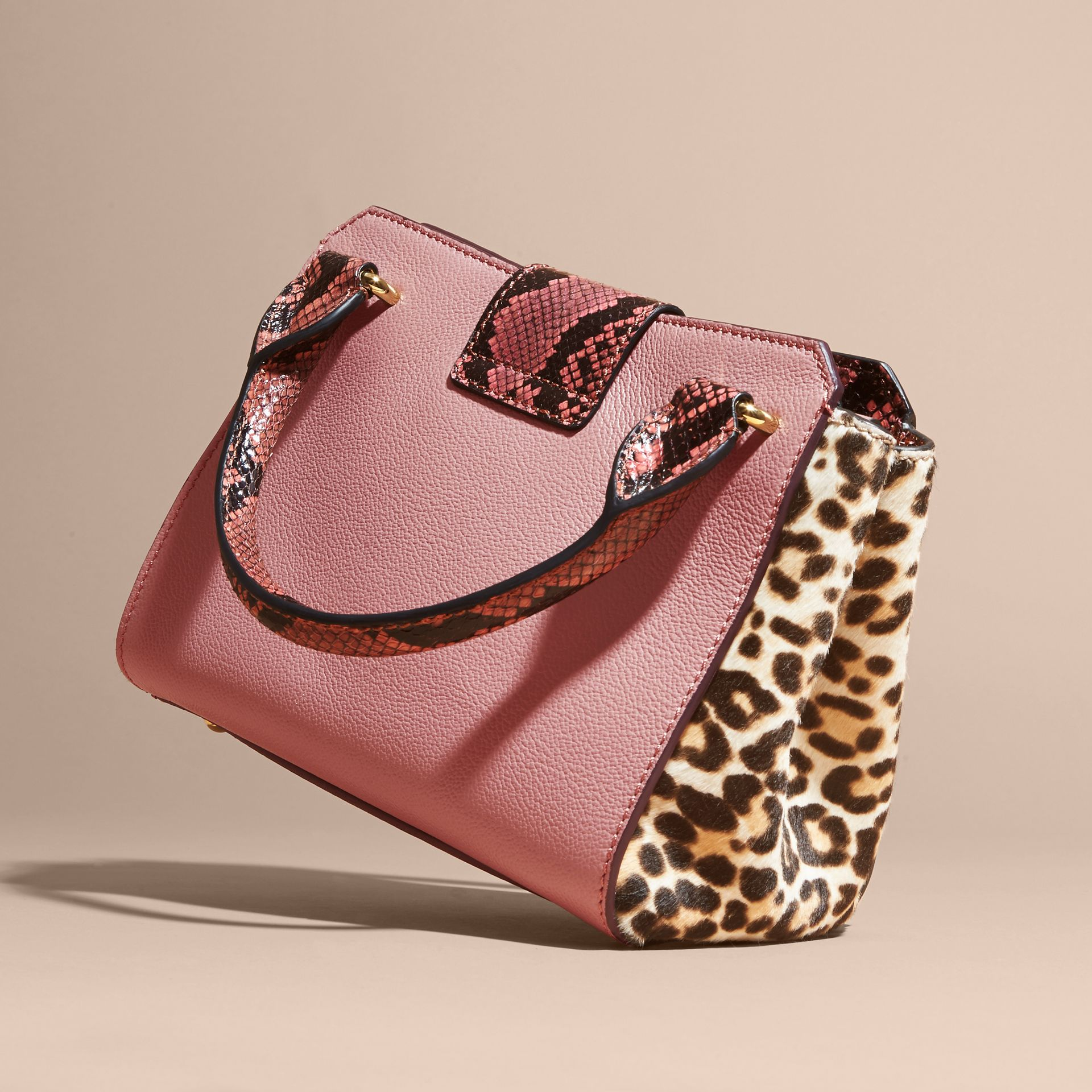 Dusty pink The Small Buckle Tote in Leather and  Leopard-print Calfskin Dusty Pink - gallery image 5