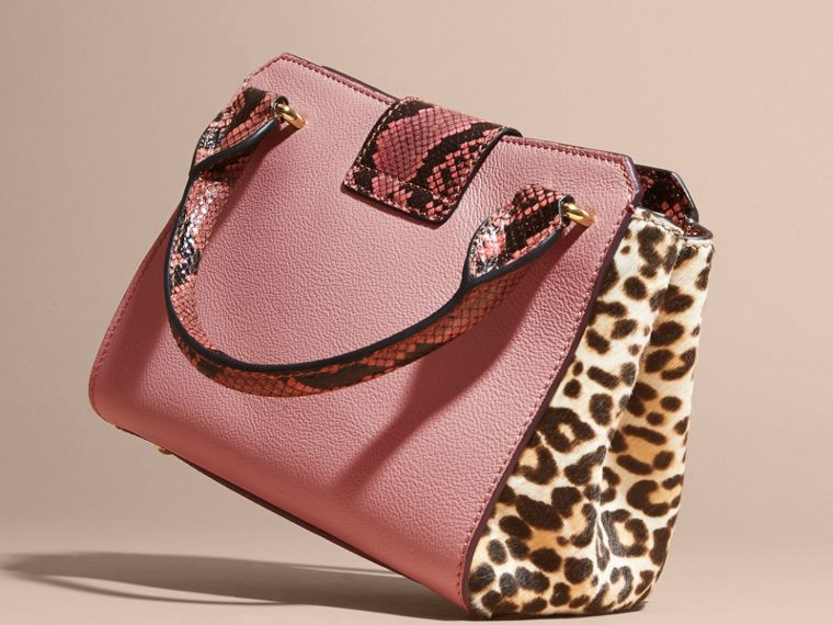 Dusty pink The Small Buckle Tote in Leather and  Leopard-print Calfskin Dusty Pink - cell image 4