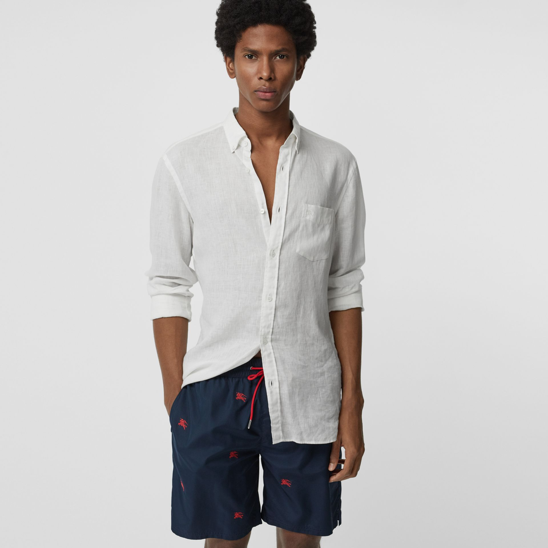 Archive Logo Drawcord Swim Shorts in Navy - Men | Burberry - gallery image 0