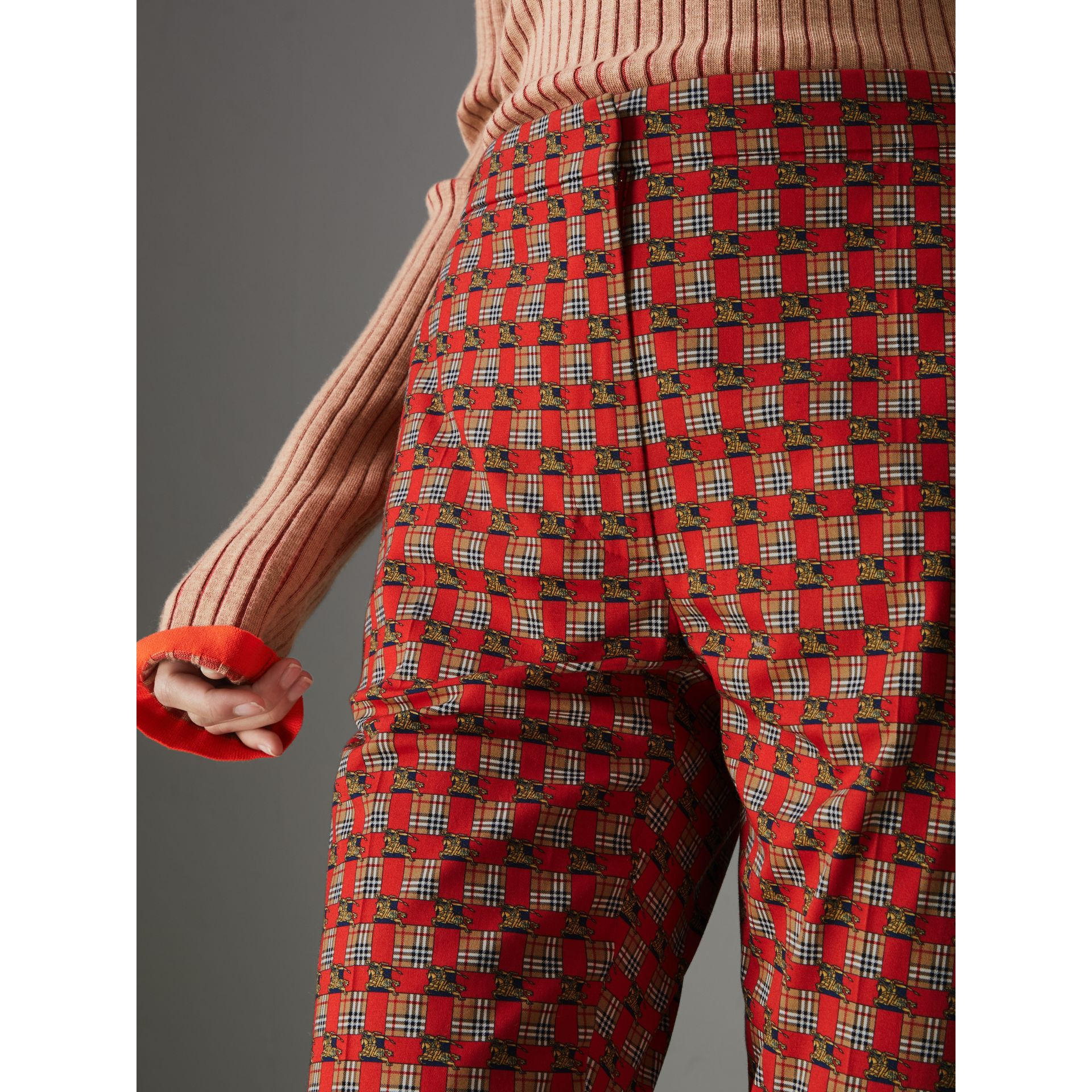 Tiled Archive Print Stretch Cotton Cigarette Trousers in Orange Red - Women | Burberry - gallery image 1
