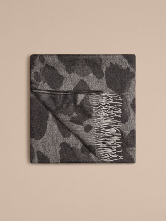 Mid grey print Animal Jacquard Cashmere Blanket Mid Grey Print - cell image 3