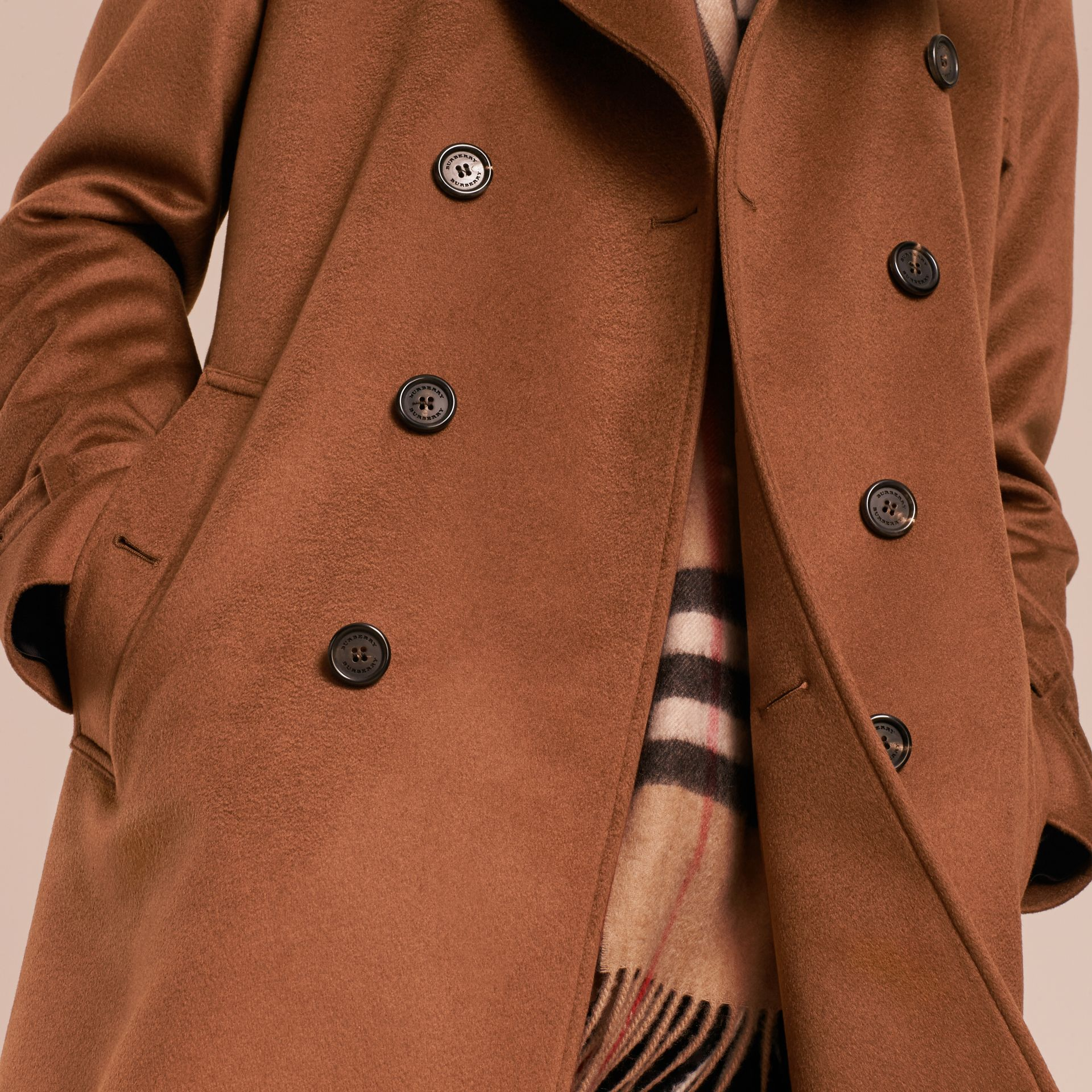 Cashmere Trench Coat Umber Brown - gallery image 6