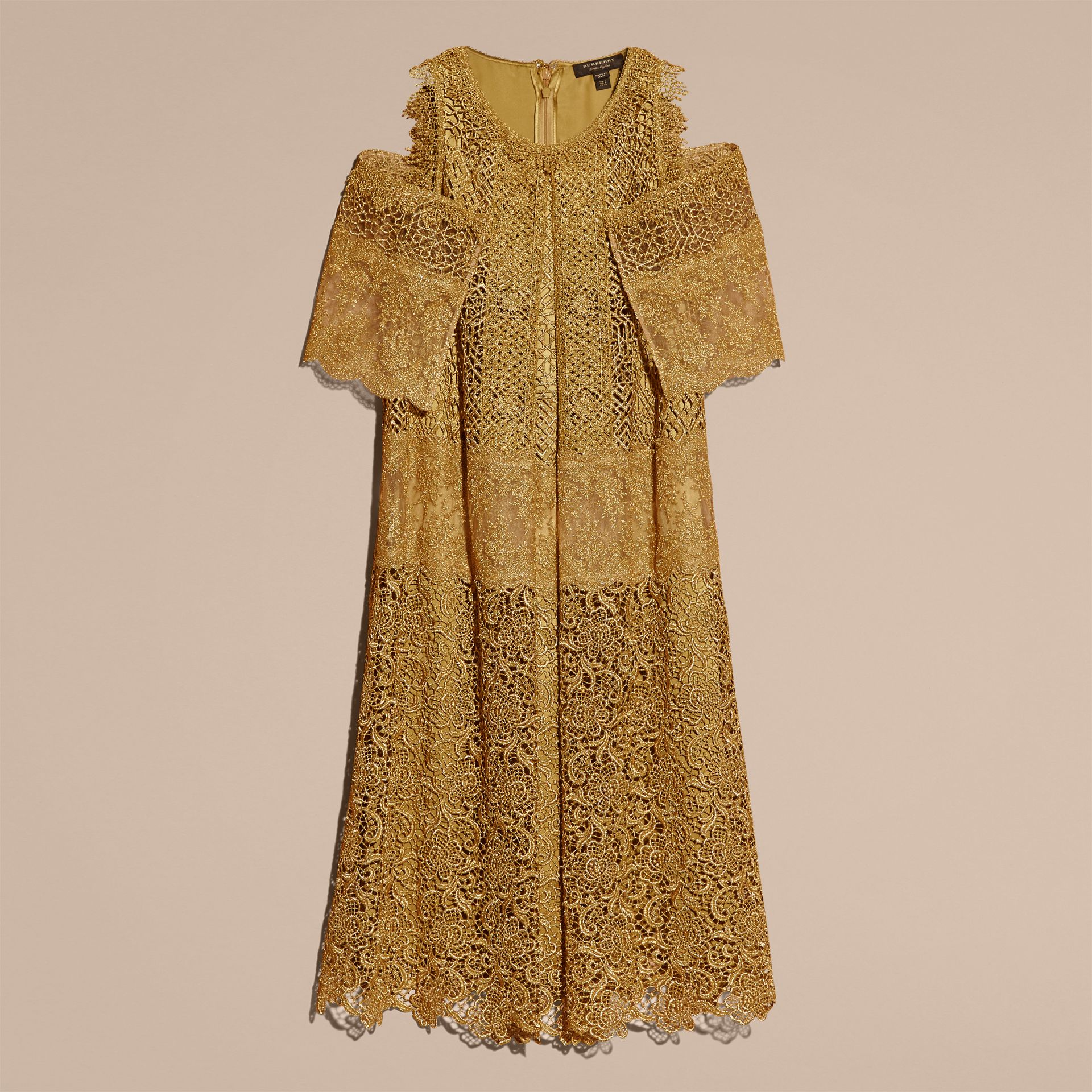 Gold Cape-sleeved Macramé Dress - gallery image 4