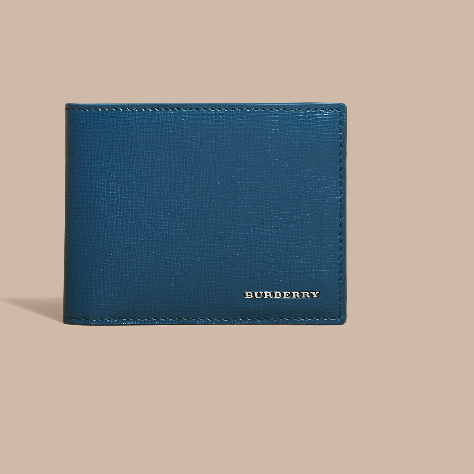 London Leather Bifold Wallet in Mineral Blue - gallery image 2