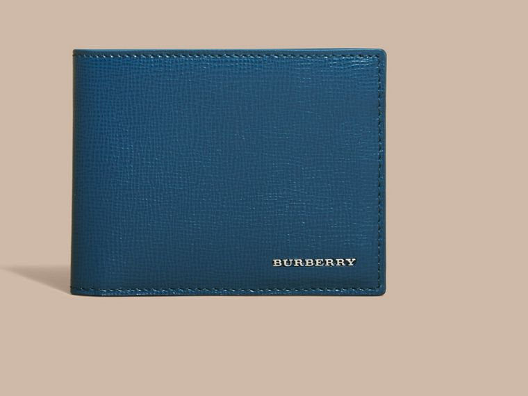 London Leather Bifold Wallet in Mineral Blue - cell image 1