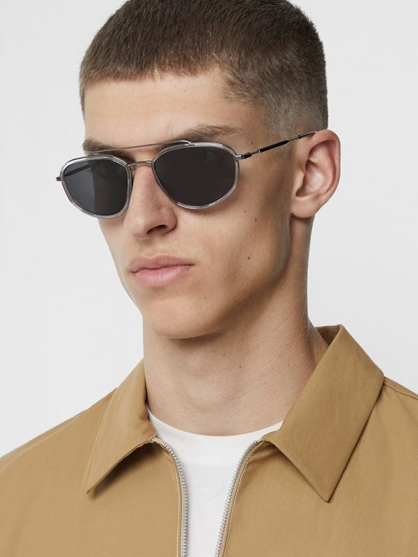 Geometric Navigator Sunglasses in Gunmetal Grey - Men | Burberry United Kingdom - cell image 2