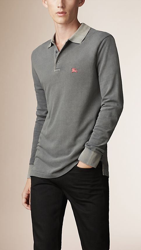 Grey Cotton Jersey Double Dyed Polo Shirt Grey - Image 1
