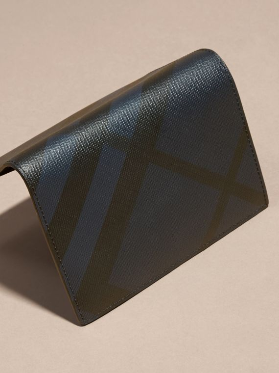 London Check and Leather Passport Holder in Navy/black - Men | Burberry - cell image 3
