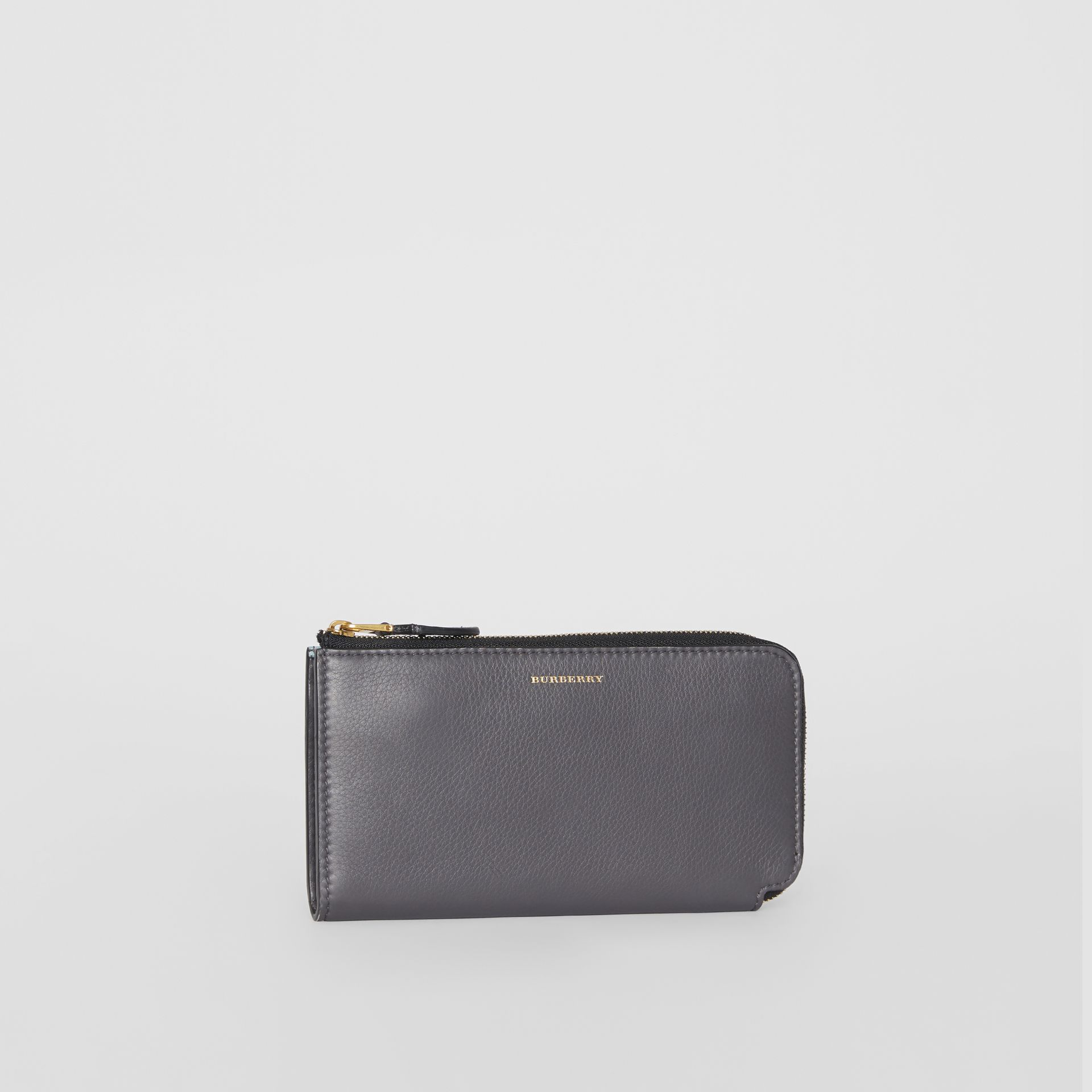 Two-tone Leather Ziparound Wallet and Coin Case in Charcoal Grey - Women | Burberry - gallery image 5