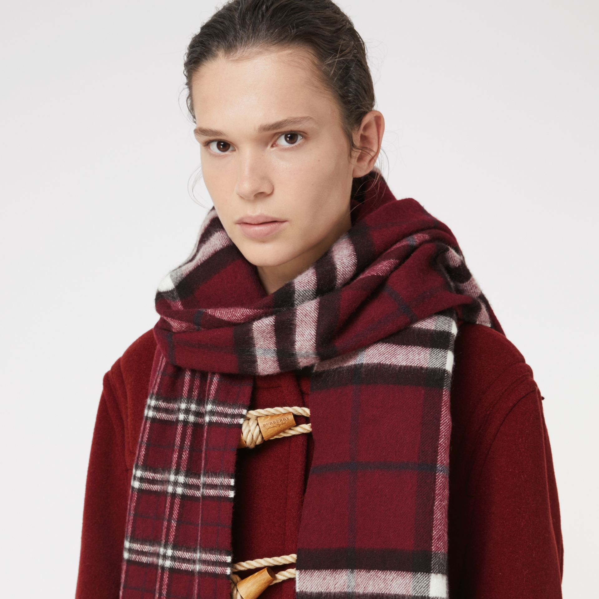 Gosha x Burberry Check Cashmere Double Scarf in Claret | Burberry - gallery image 4