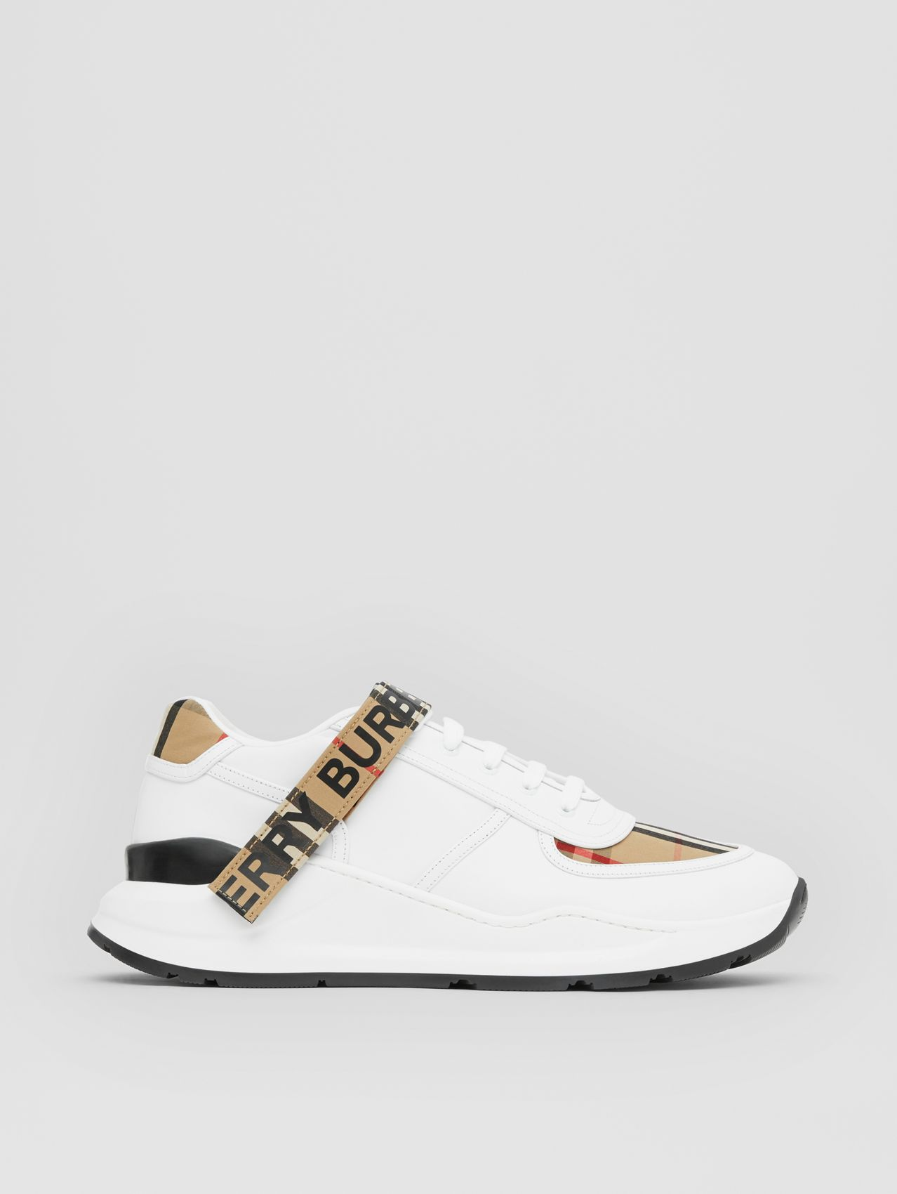 Logo Detail Leather and Vintage Check Sneakers in Archive Beige/white