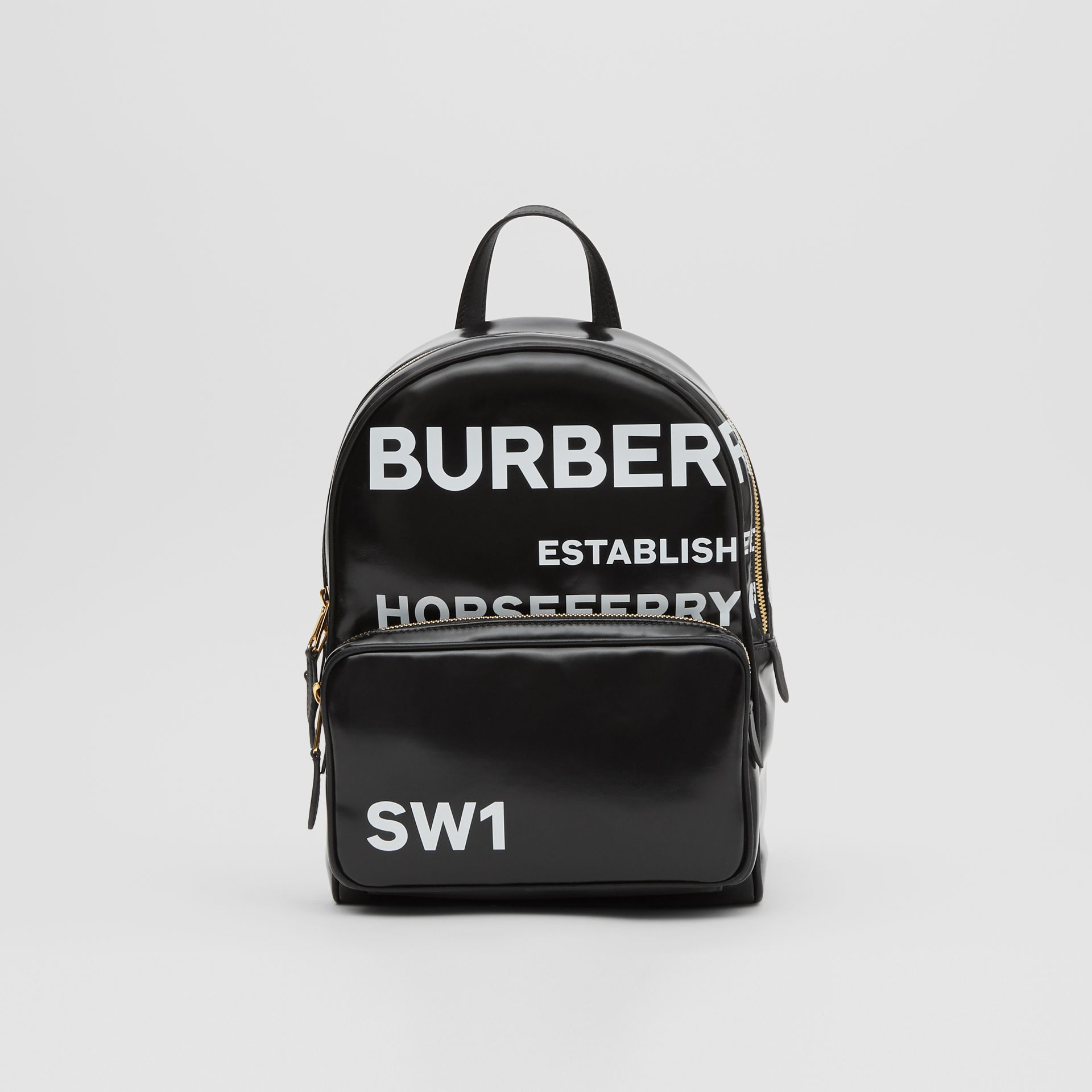 Horseferry Print Coated Canvas Backpack in Black | Burberry - gallery image 0