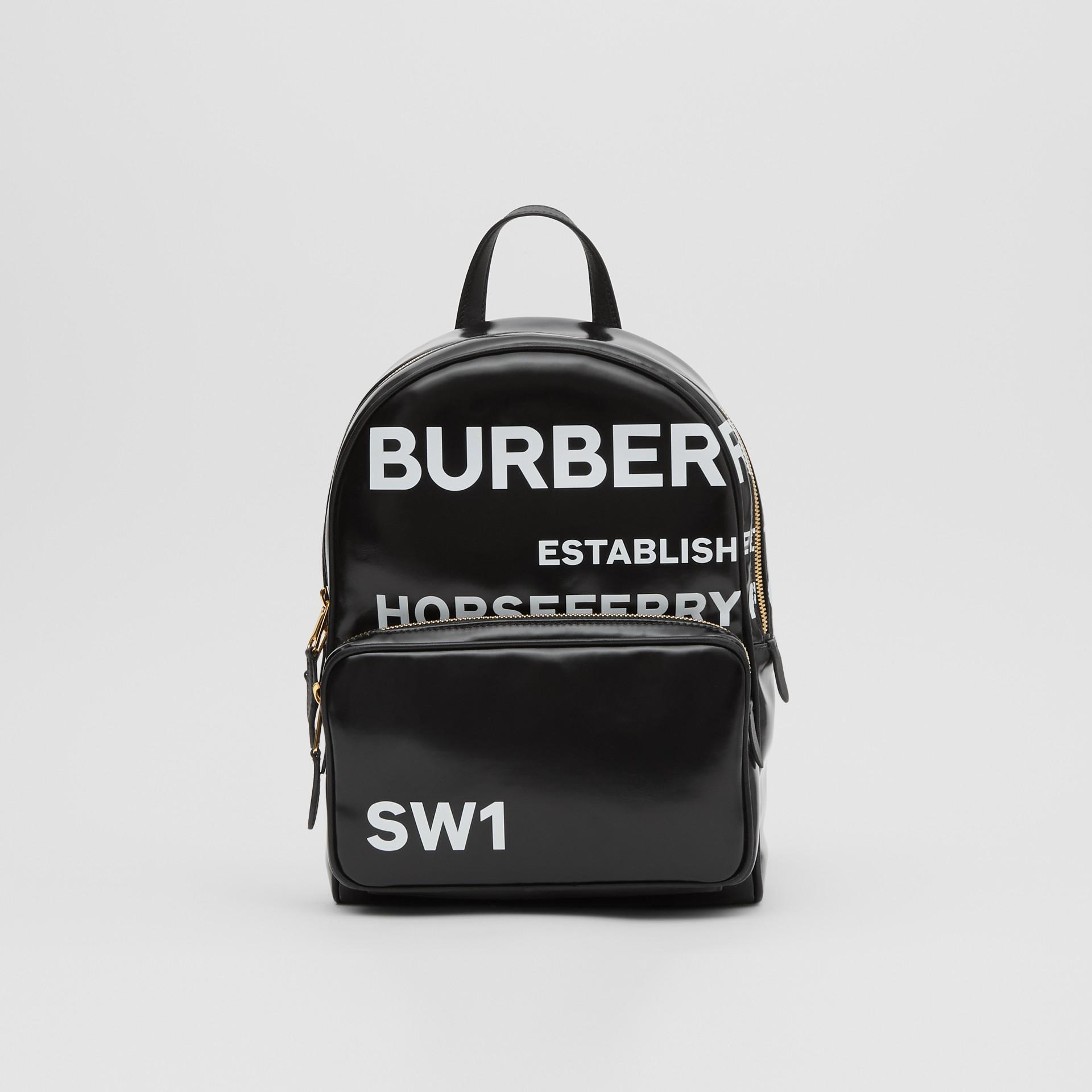 Horseferry 印花塗層帆布後背包 (黑色) | Burberry - 圖庫照片 0