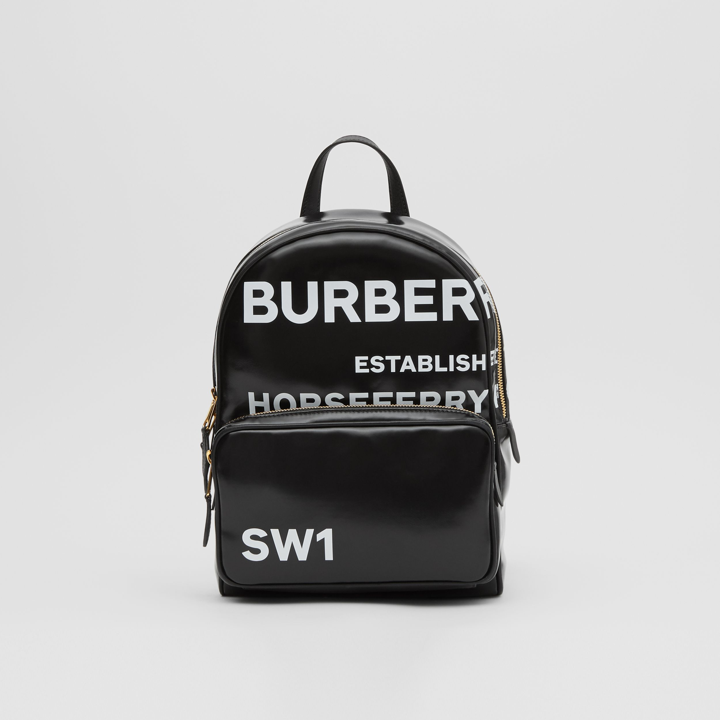 Horseferry Print Coated Canvas Backpack in Black | Burberry - 1