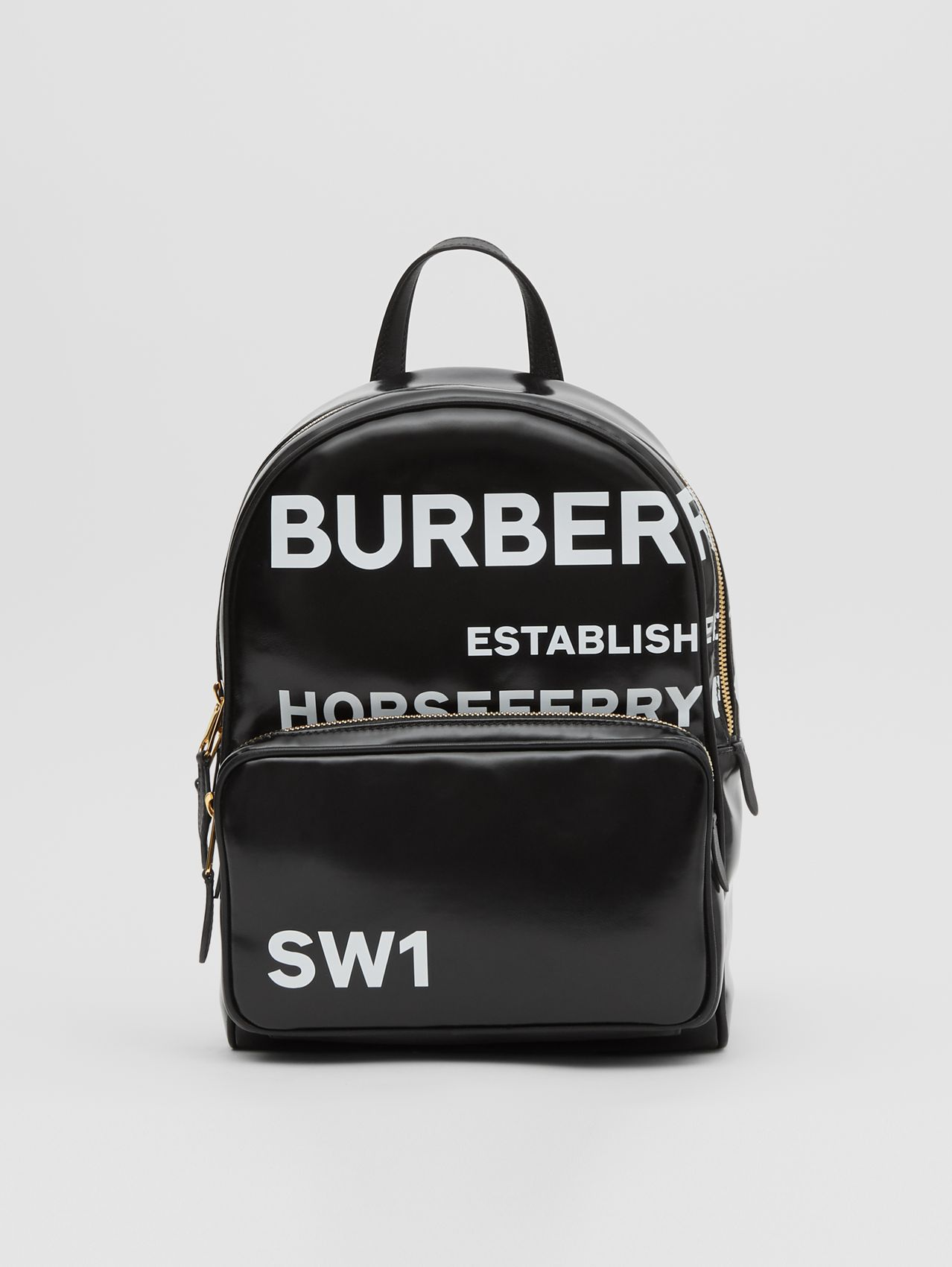 Horseferry Print Coated Canvas Backpack in Black