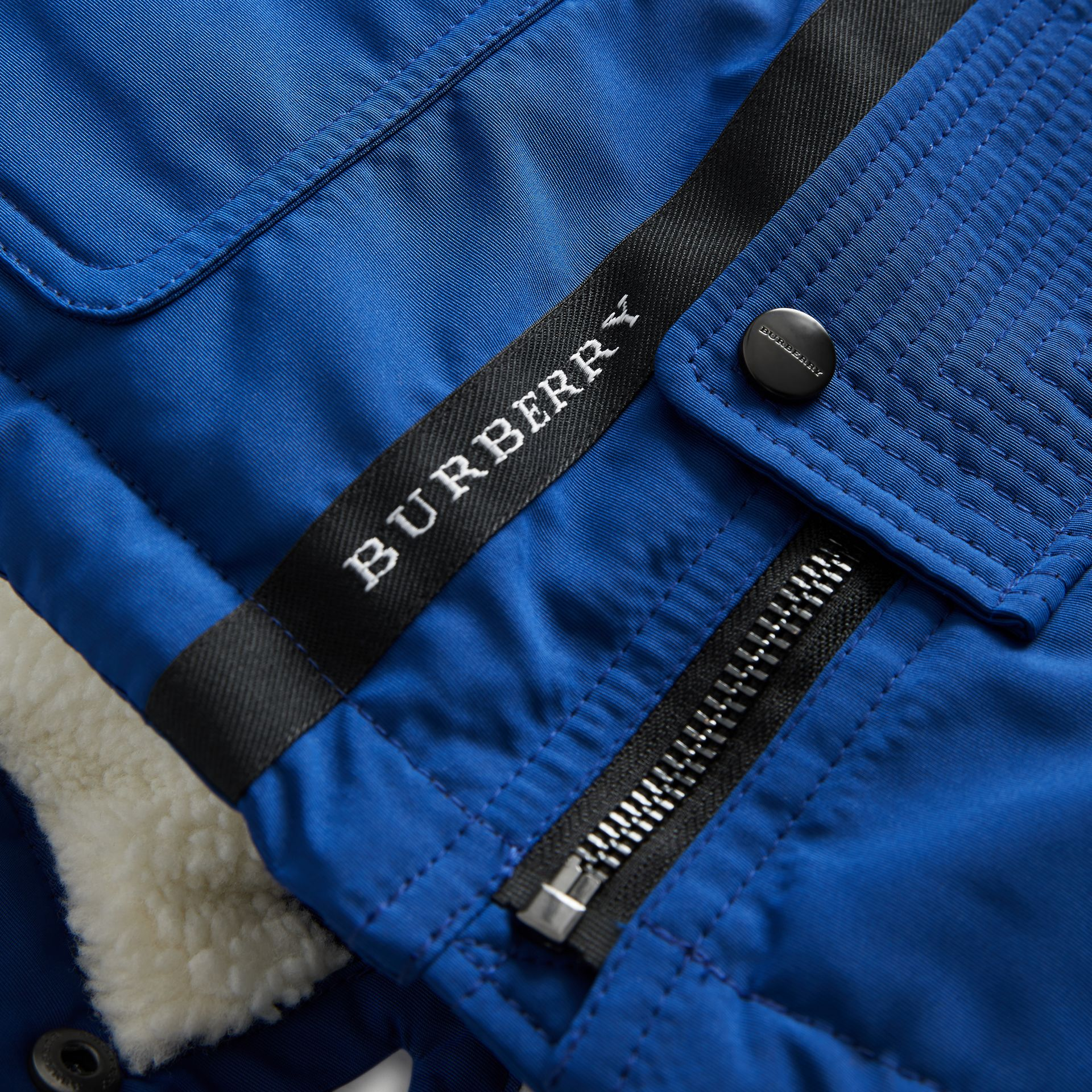 Detachable Hood Down-filled Parka Coat in Bright Cobalt | Burberry Singapore - gallery image 1