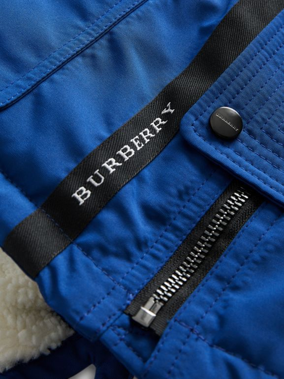 Detachable Hood Down-filled Parka Coat in Bright Cobalt | Burberry - cell image 1
