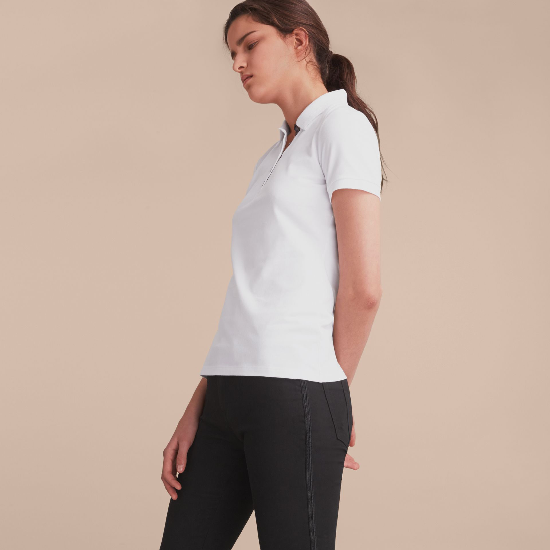 Lace Trim Cotton Blend Polo Shirt with Check Detail in White - Women | Burberry - gallery image 6