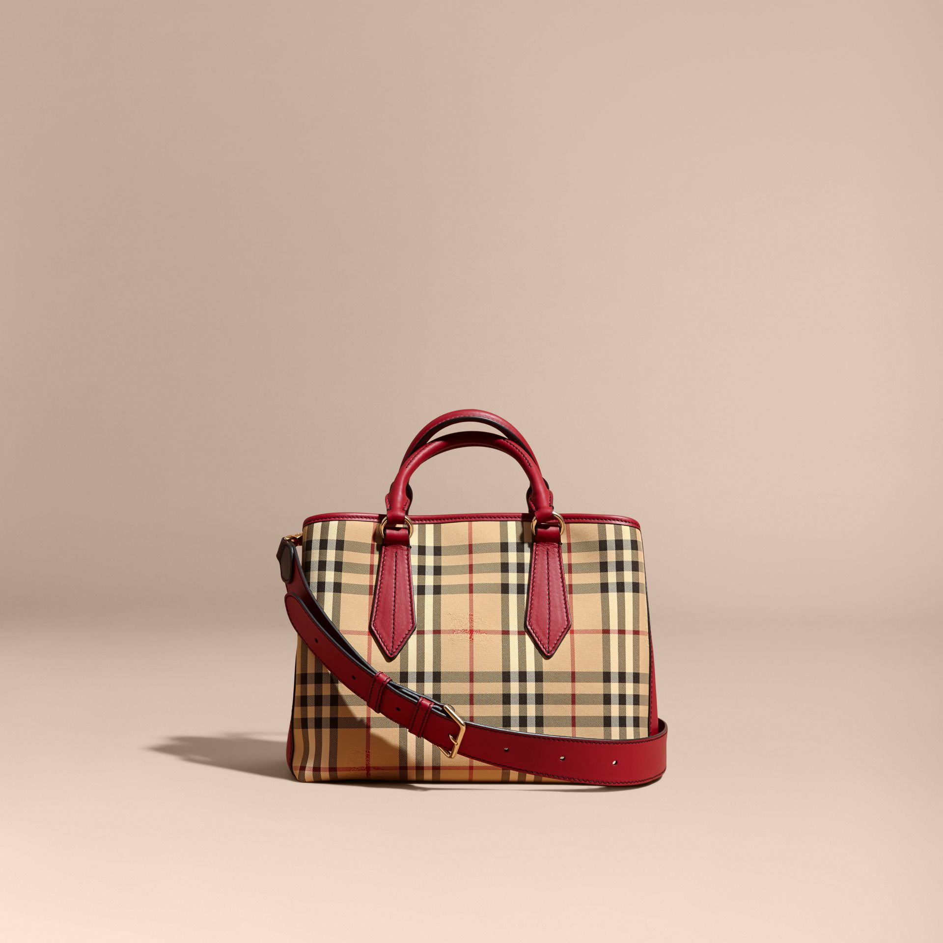 Leather Trim Horseferry Check Tote in Honey/parade Red - gallery image 9