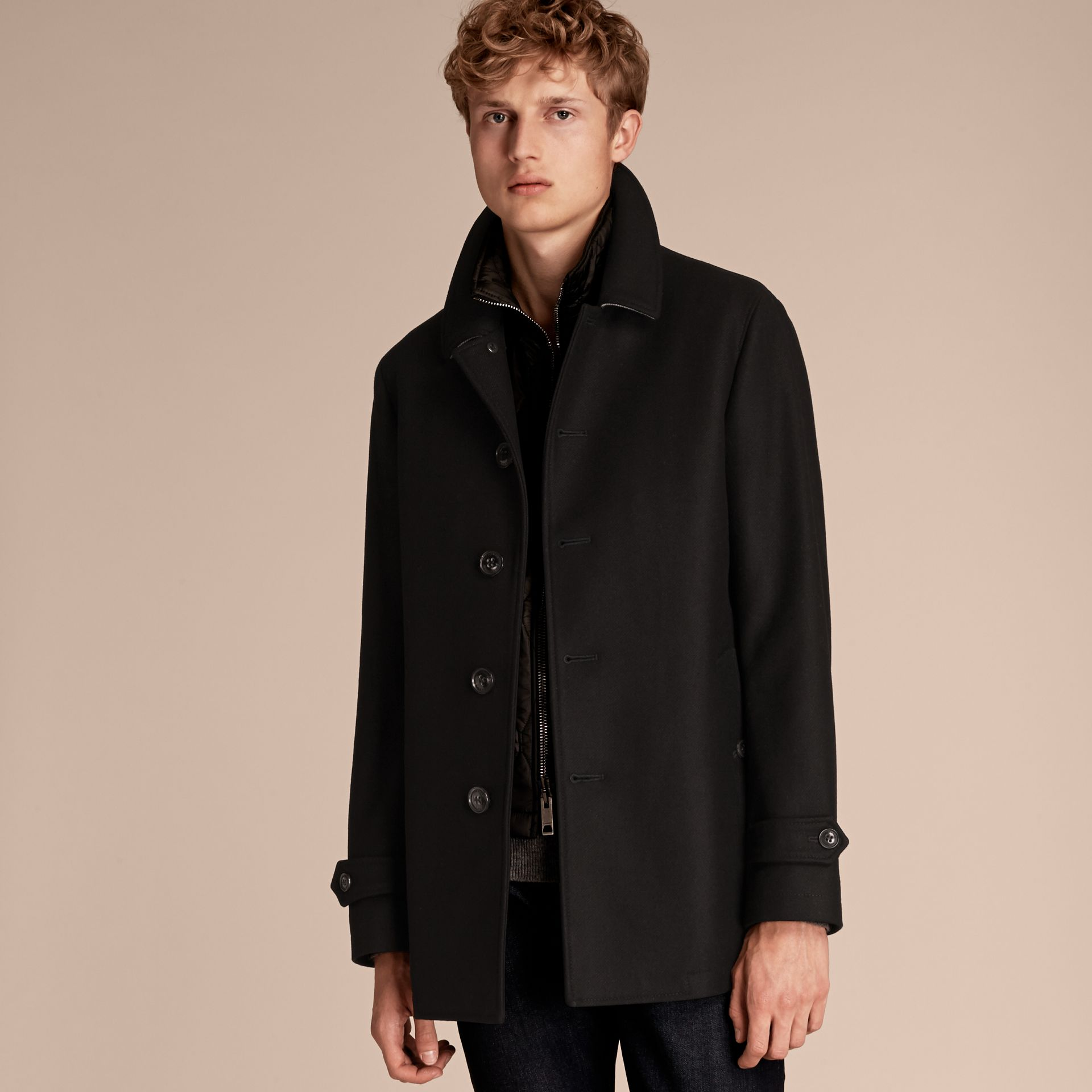 Black Wool Cashmere Blend Coat with Detachable Warmer - gallery image 8