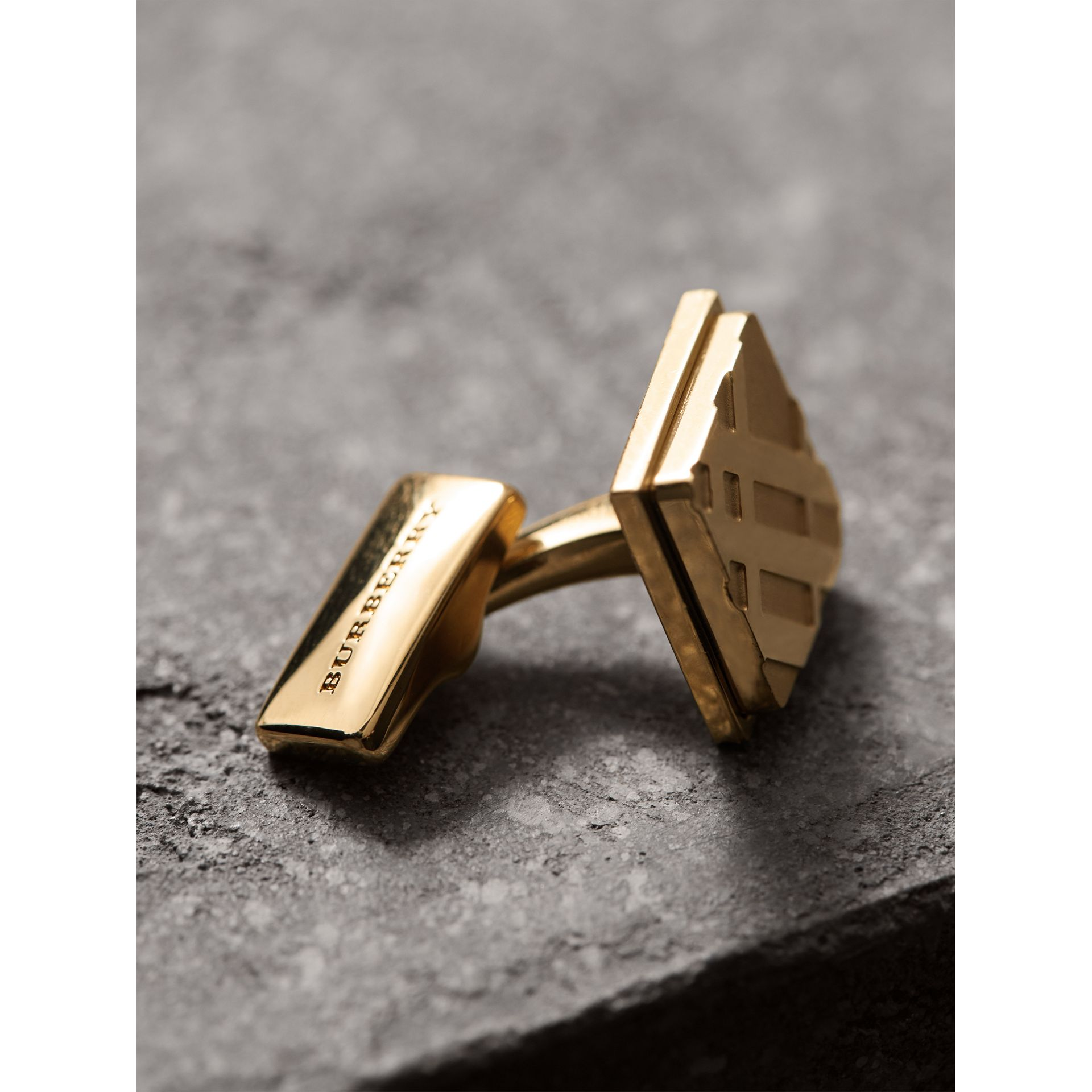 Check-engraved Square Cufflinks in Pale Gold - Men | Burberry - gallery image 1