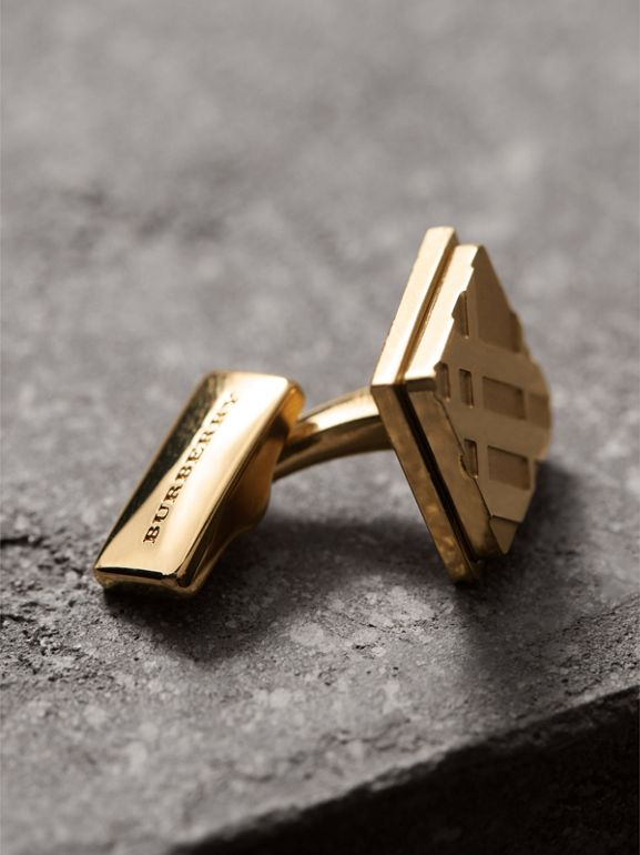 Check-engraved Square Cufflinks in Pale Gold - Men | Burberry Australia - cell image 1