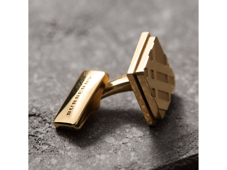 Check-engraved Square Cufflinks in Pale Gold - Men | Burberry Singapore - cell image 1
