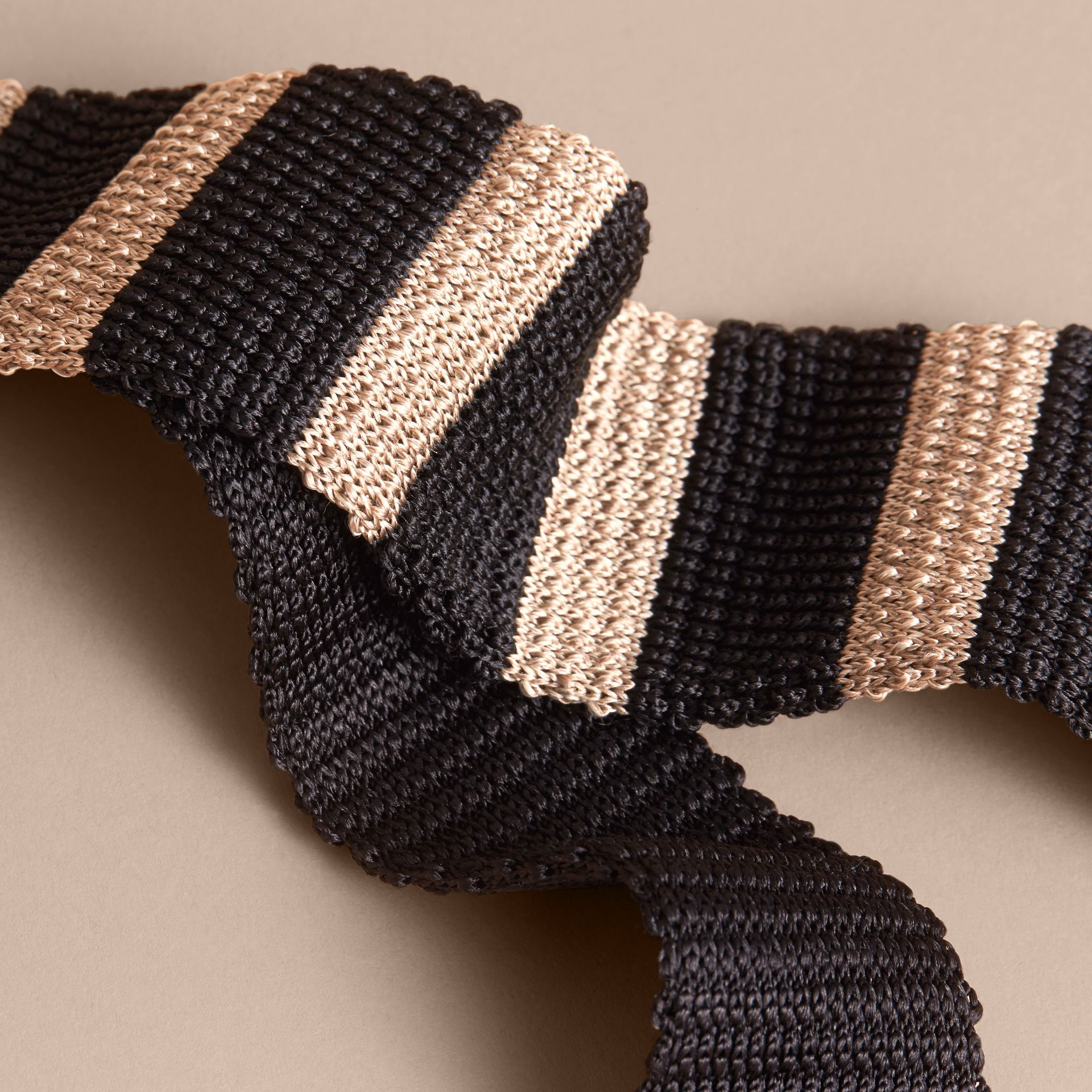 Slim Cut Two-tone Knitted Silk Tie in Black - Men | Burberry Canada - gallery image 2