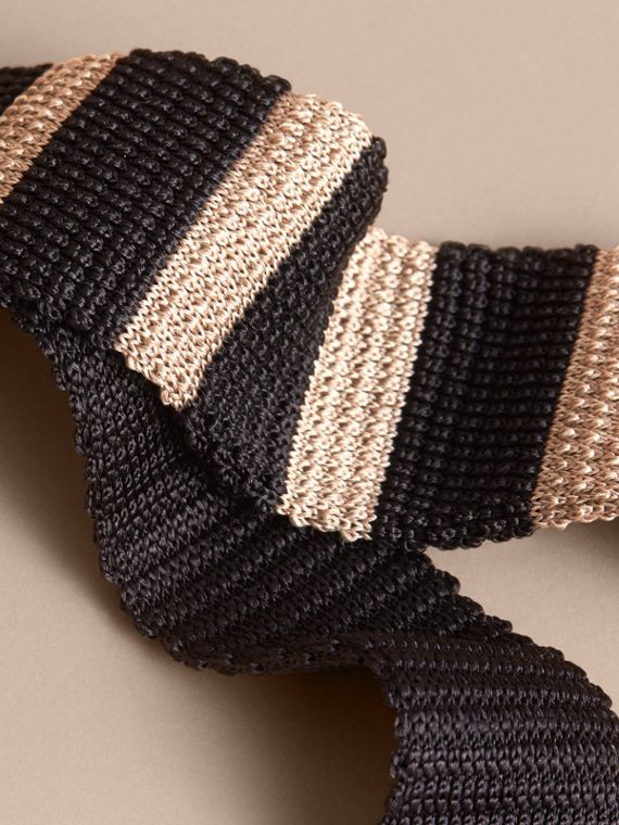 Slim Cut Two-tone Knitted Silk Tie in Black - Men | Burberry Canada - cell image 2