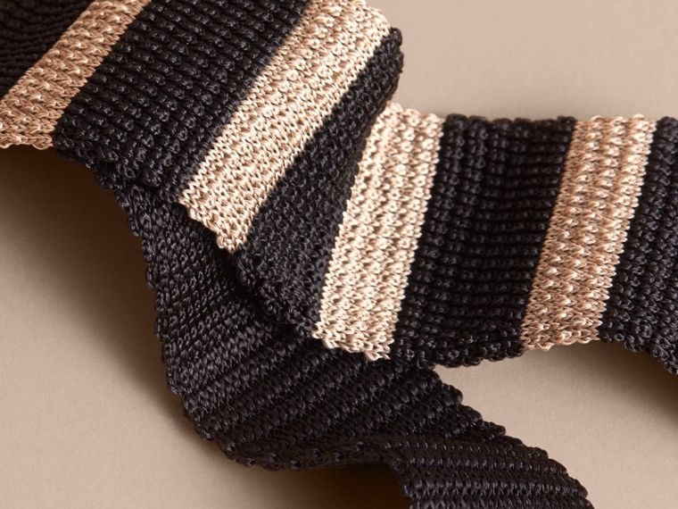 Slim Cut Two-tone Knitted Silk Tie in Black - Men | Burberry Canada - cell image 1