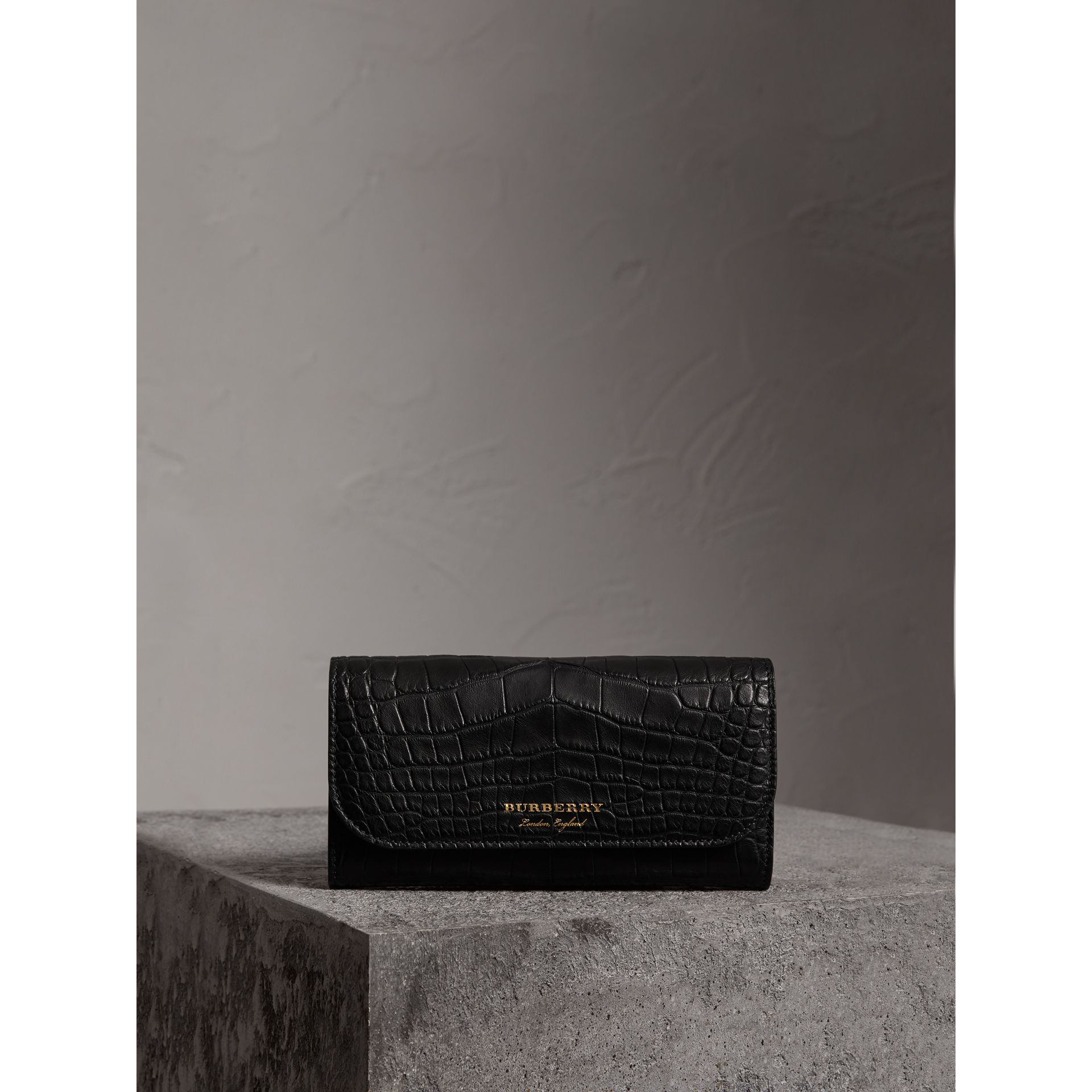 Alligator and Leather Continental Wallet in Black - Women | Burberry United States - gallery image 4