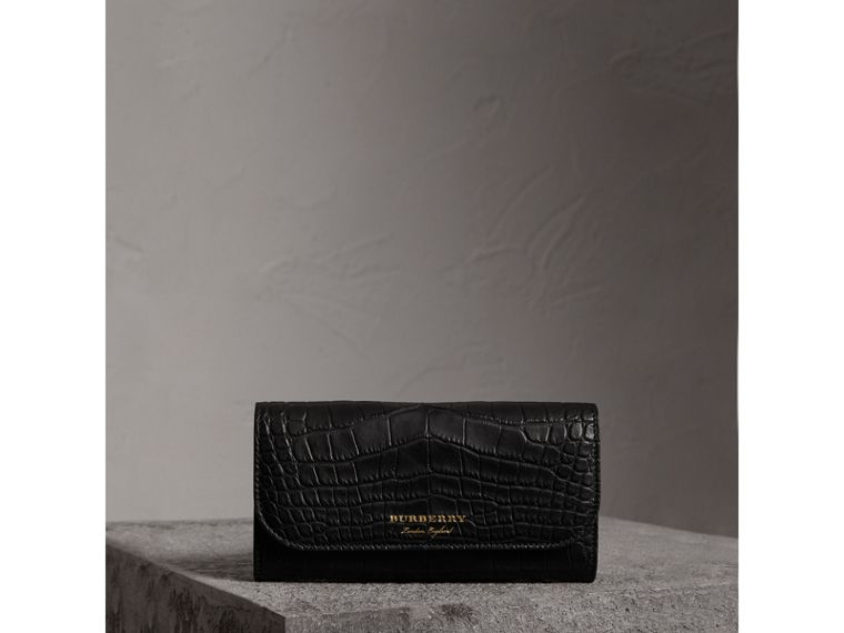 Alligator and Leather Continental Wallet in Black - Women | Burberry United States - cell image 4