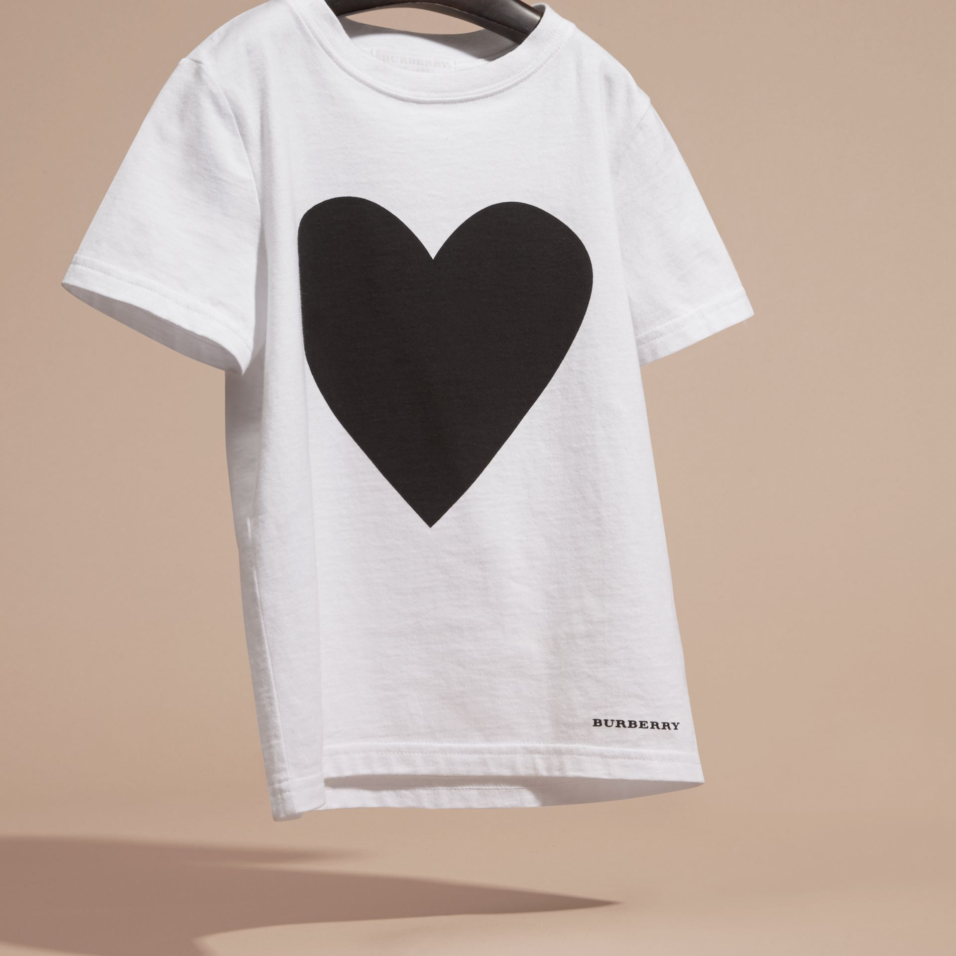 Black Heart Print Cotton T-Shirt Black - gallery image 3