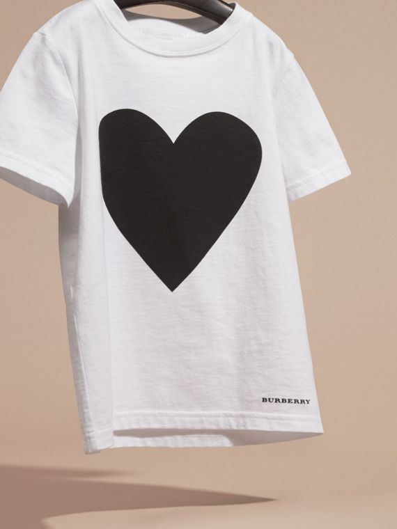 Black Heart Print Cotton T-Shirt Black - cell image 2