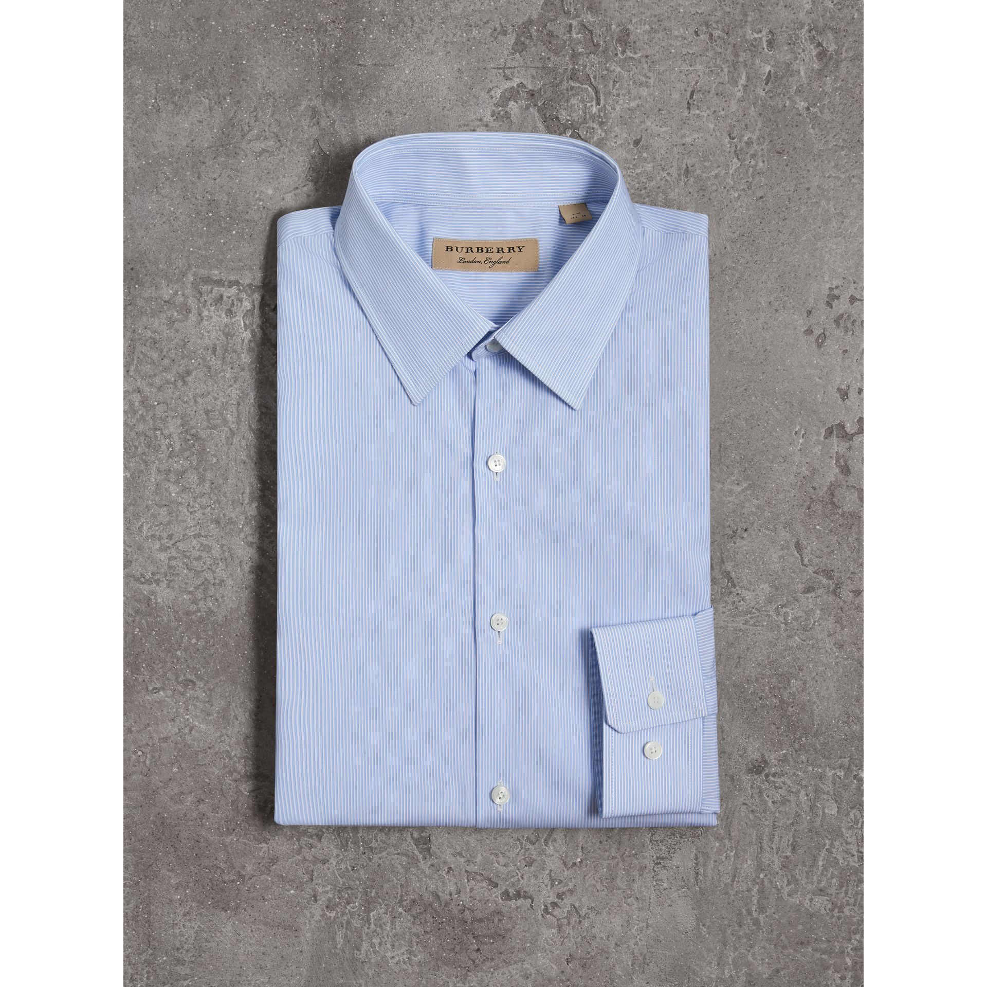 Slim Fit Striped Cotton Poplin Shirt in City Blue - Men | Burberry Canada - gallery image 4
