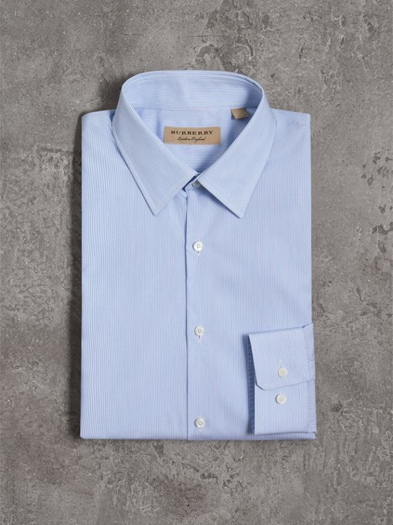 Slim Fit Striped Cotton Poplin Shirt in City Blue - Men | Burberry Canada - cell image 3