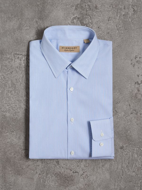 Slim Fit Striped Cotton Poplin Shirt in City Blue - Men | Burberry United Kingdom - cell image 3